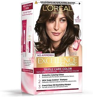 L'Oreal Paris Excellence Creme Hair Color, 4 Natural Brown/Natural Dark Brown, 72ml+100g