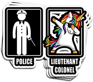 Jarky Love 3 PCs Stickers Police Lieutenant Colonel Unicorn 4 × 3 Inch Die-Cut Decals for Laptop Window