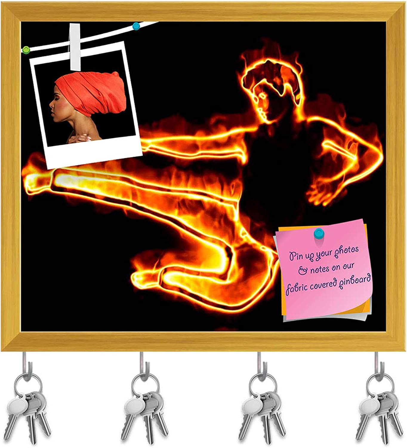 Artzfolio Flamy Male Dancer Key Holder Hooks   Notice Pin Board   golden Frame 18.7 X 16Inch