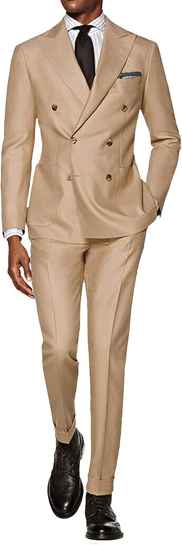 Frank Men's Suit 2 Pieces Slim Fit Suit Jacket Pant Coat Business Blazer Groom Tuxedos