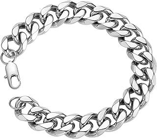 SANNYRA 18k Real Gold Plated Curb Cuban Chain Bracelet Stainless Steel Link Bracelet for Men