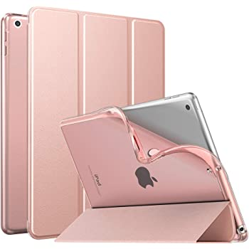 MoKo Case Fit New iPad 10.2 2019 (10.2 inch) - iPad 7th Generation 2019 Case with Stand, Soft TPU Translucent Frosted Back Cover Slim Smart Shell, Auto Wake/Sleep - Rose Gold
