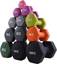 CUQNORL Vinyl Dumbbell Pairs - 8 WEIGHT OPTIONS, 1-10kgs - Non-Slip, Hexagon Shape,Coated Cast Iron Hex Dumbbell Weight Se...