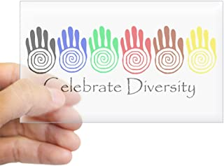 CafePress Celebrate Diversity Rainbow Hands Sticker (Rectang Rectangle Bumper Sticker Car Decal