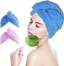 Salandens Toalla para Cabello Turban Microfibra Baño de Secado Baño de Ducha Toalla con Botones, Secador Quick Magic, Gorr...