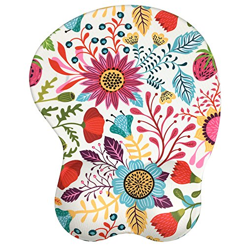 Ergonomic Mousepad with Wrist Support - Protect Your Wrists and De-Clutter Your Desk - Premium Mouse Pad with Wrist Rest - Latest Custom Non-Slip Design (Art Flower)