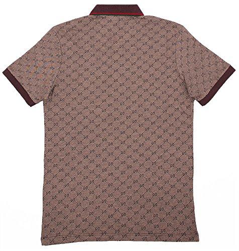 Gucci Polo Shirt, Mens Brown Short Sleeve Polo T- Shirt GG Print All Sizes (L)