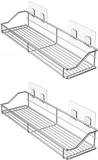 BQKOZFIN 強力粘着 浴室用ラック 壁掛けラック ステインレス シャワーラック バスルーム用ラック お風呂場 洗面台収納 10kg荷重 2個