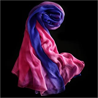 Gradient Silk Scarf Shawl Wild Beach Towel Riding Silk Scarf for Lady,Perfect Accent to Any Outfit (Color : 19, Size : 180 * 150cm)