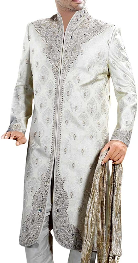 INMONARCH Mens IndianSuit White Bollywood Style Western Attire Sherwani SH0348