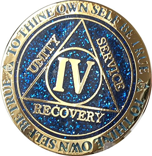 RecoveryChip 4 Year AA Medallion Reflex Blue Glitter Gold Plated Color Chip IV