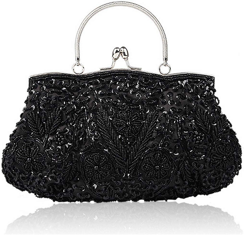 Limeinimukete Damen Vintage Perlen Pailletten Abendtasche Hochzeit Handtasche (Farbe (Farbe (Farbe   schwarz) B07KQW18J3  Creative 936030