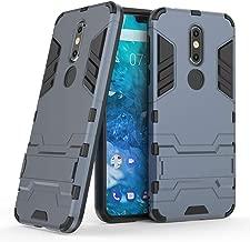 Nokia 7.1 case, MAIKEZI Dual Layer Armor Hard Slim Hybrid Kickstand Phone Cover Case for Nokia 7.1 (Navy Blue Kickstand Case)