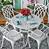 <span class='highlight'>Lazy</span> <span class='highlight'>Susan</span> HANNAH 90cm 4 Seater Round Garden Table Set, Maintenance Free, Lightweight, Weatherproof, Sand Cast Aluminium, Brilliant White Finish, APRIL Chairs