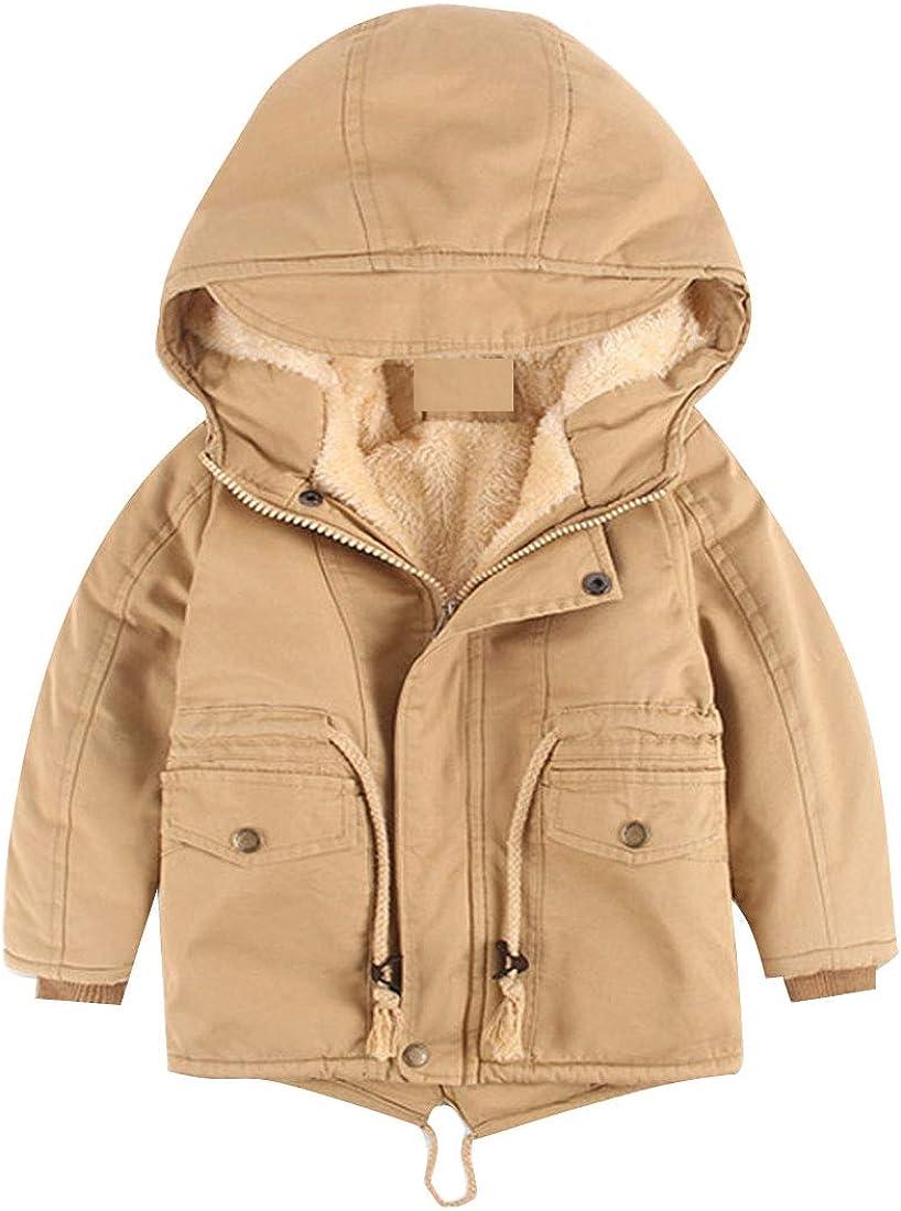 AMEBELLE Boys' Girls Winter Parka Coat Sherpa Fleece Cotton Padded Hooded Jacket