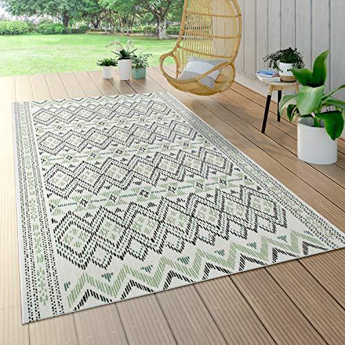 Paco Home Outdoor Teppich Für Terrasse Und Balkon, Geometrisches Muster, Modern In Grün, Grösse:120x170 cm