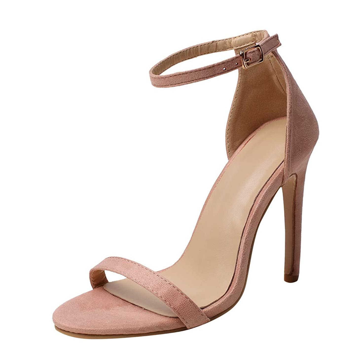 Claystyle Women's Stiletto High Heel Ankle Strap Dress Sandals Open Toe Strappy Heels Wedding Party Prom Shoes