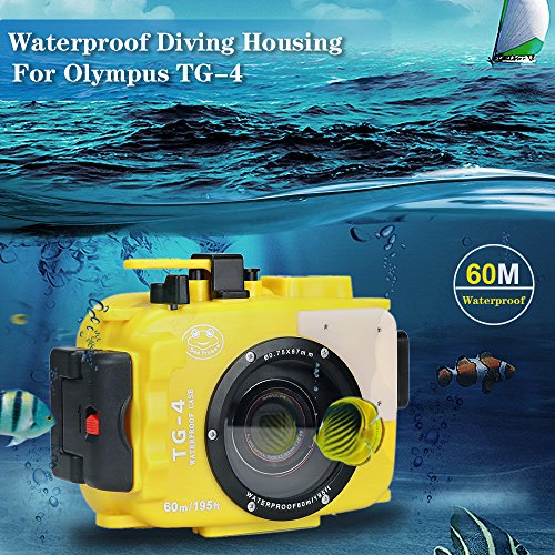 Sea frogs para Olympus TG-3 TG-4 195 ft/60 M Carcasa Impermeable de Cámara Deportiva Protectora Resistente al Agua hasta