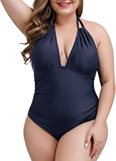 Women Plus Size One Piece Swimsuit Halter Tummy Control Bathing Suit