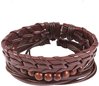 Unknown By Ayesha Men's Set Of Three Dark Brown Faux Leather Beaded Bracelets