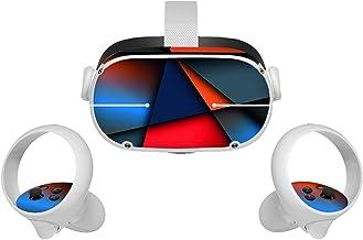 CALIDAKA All in One VR Glasses Skin Sticker Compatible with Oculus-Quest 2,Sweatproof Controller Grip Sticker,Non Slip Hea...