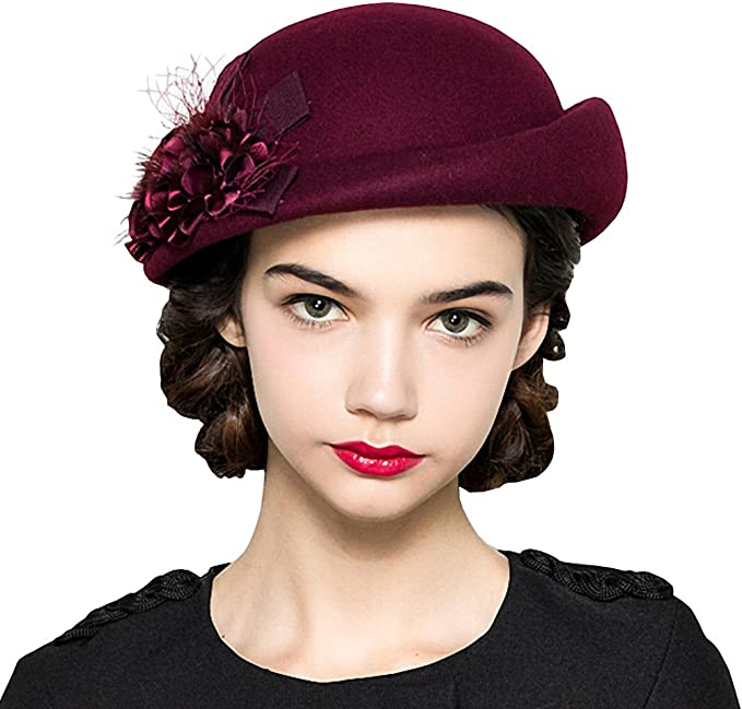1930s Style Hats   Buy 30s Ladies Hats Maitose Womens Lace Flower Wool Beret Cap  AT vintagedancer.com