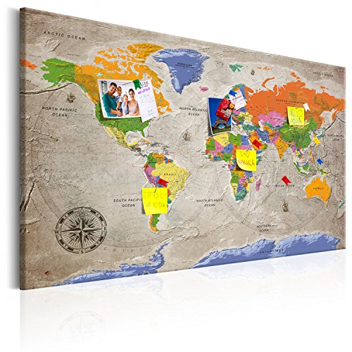 murando - Mapamundi con Tablero para Clavar chinchetas 90x60 cm - Cuadro en Lienzo sintético - Panel de Fibra - Mapa del Mundo Continente - k-A-0133-v-a