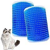 LLMZ 2 Piezas Cepillo Masajeador para Gatos Peine de Masaje de Esquina para Gatos, para Peinar y Limpiar El Pelo de Animales (Azul)