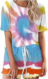 Simayixx Women's Casual Summer 2 Piece Outfits Tie Dye Short Sleeve Sport T-Shirt Tops and Shorts Loungewear Set
