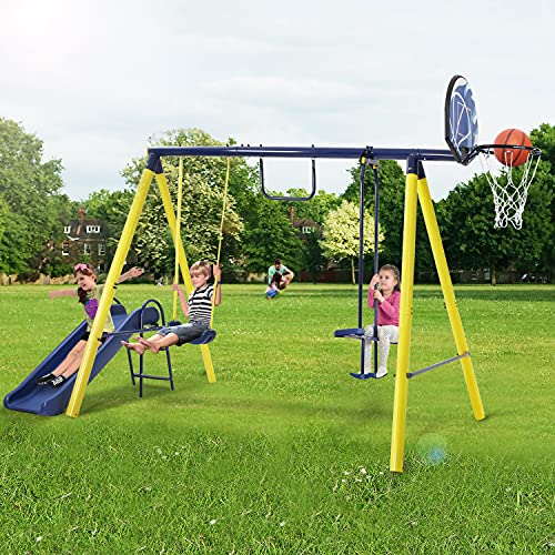 hunpta 5 in 1 Outdoor Tolddler Swing Set for Backyard, Playground Swing Sets with Steel Frame, Swing n' Silde Playset for Kids with Seesaw Swing, Basketball Hoop (A)