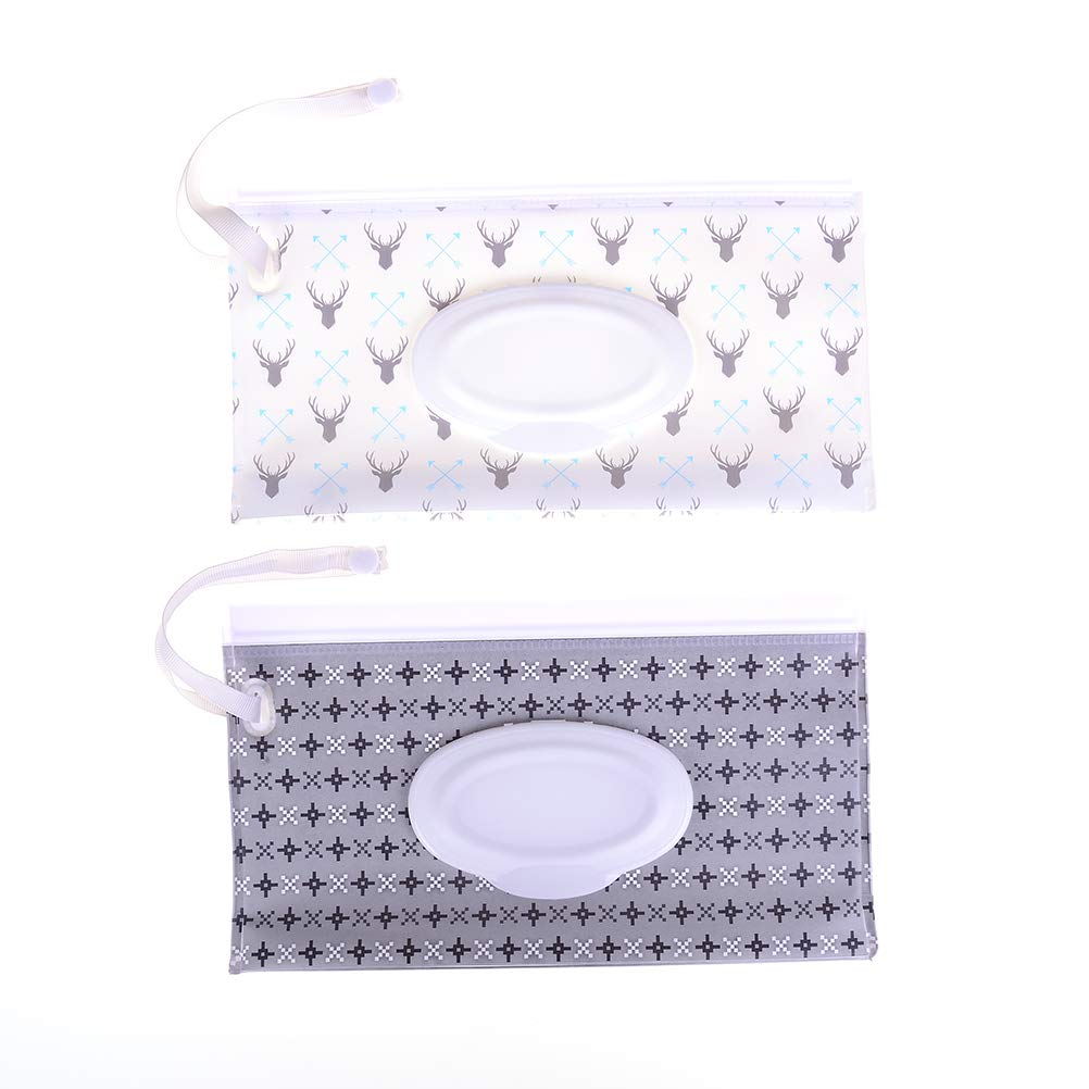 Baby Wet Wipe Pouch Bag Travel Wipes Case Reusable Refillable Wet Wipe Bag Cases Portable Travel Wipes Dispenser Wipe Pouches