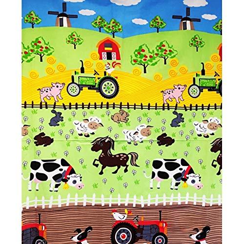 Pingianer 11,99€/m 100% Baumwolle 100x160cm Baumwollstoff Bauernhof Traktor Motiv Meterware Handwerken Nähen Stoff