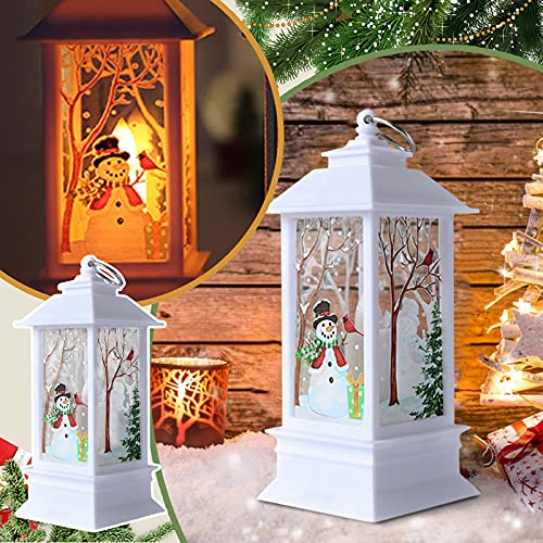 TianWlio Laterne Weihnachten Dekorative LED Laterne Retro Hängelaterne deko Laterne Vintage Schneelaterne für Hochzeit Weihnachten Geburtstag Party Weihnachtsbeleuchtung
