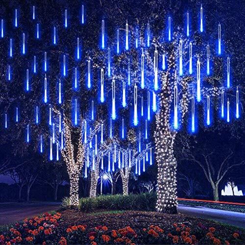 CLL Meteorschauer Regen Lichter Garten wasserdichte Regentropfen Dekorative Licht 80cm 10 Röhre 720 Licht Led Aussen Schneefall Lichterkette blau