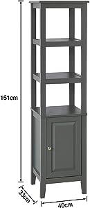SoBuy® FRG205-DG Meuble Colonne de Salle de Bain Armoire Toilette Haute Meuble Etagère de Salle de Bain – Gris
