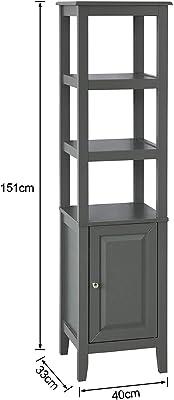 SoBuy FRG205-DG, Mueble Columna de baño, Armario para baño,estanterías de