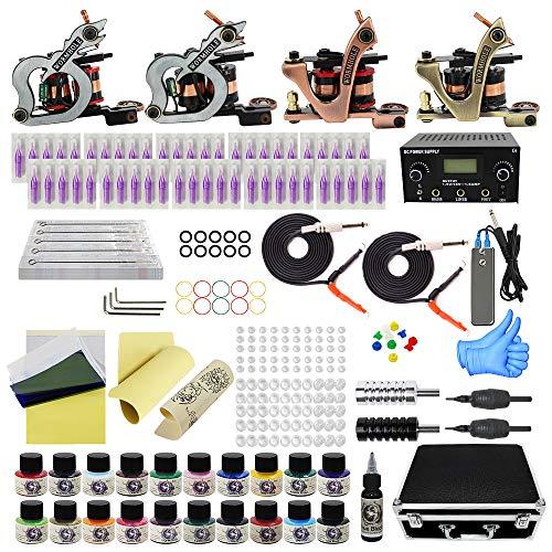 Wormhole Tattoo Maschine Set Komplett 4 Tattoomaschine Dual Power Supply 50 Tattoo Nadeln 20 Farbtinten Anfänger Tattoo Kit EU-Stecker (TK1000046)