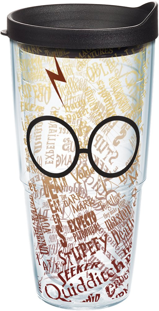 Tervis Harry Potter - Glasses and Scar Tumbler with Wrap and Black Lid 24oz, Clear