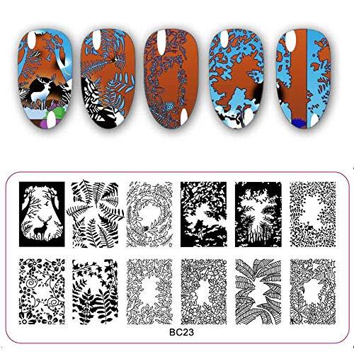Schoonheid DIY RVS Manicure Tool Nagel Art Sjabloon Dieren Stempel Afbeelding Stencil Bloem Blad Stempelen Platen BC23
