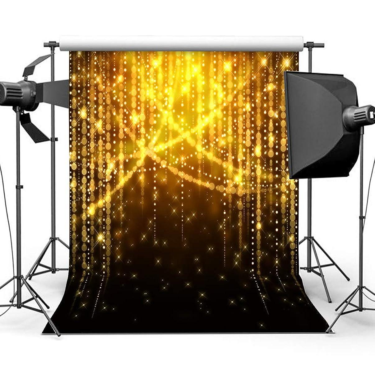 Sensfun 5x7ft Seamless Vinyl Black Bokeh Golden Glittering Backdrop Wedding Sparkle Lighting Party Decoration Digital Printed Photo Background Studio Video Props