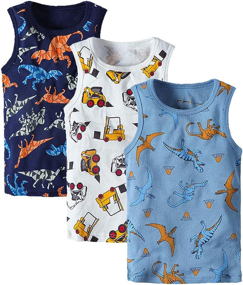 Huaer) Toddler Boys' 2-3 Pack Tank Tops (Dark Blue Dinosaur, 12 Months)