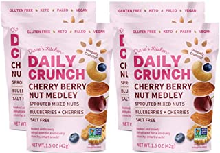 MINI BAGS - CHERRY BERRY SPROUTED NUT MEDLEY - DAILY CRUNCH SNACKS - Non-GMO – – Soaked, Sprouted & Dehydrated -- Salt Fre...