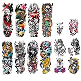 DaLin Extra Large Full Arm Temporary Tattoos and Half Arm Tattoo Sleeves for Men Women, 18 Sheets (Collection 13)