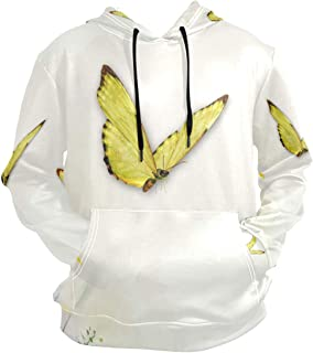 Pingshoes Flowers Yellow Butterflies Hoodie 3D Pullover Hooded Long Sleeve Workout Sweatshirts