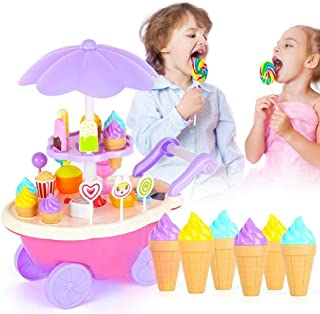 24pcs Ice Cream Trolley Toys DIY Candy Car Play House Toys Car for Children Kids