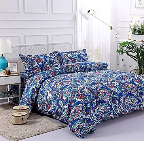 LWtiao-x Bohemian Bedding 200x200, Quilt Cover + Pillowcase, Zipper, Single, Double, Boy and Girl Bedding (a6,220x240cm+80x80cmx2)