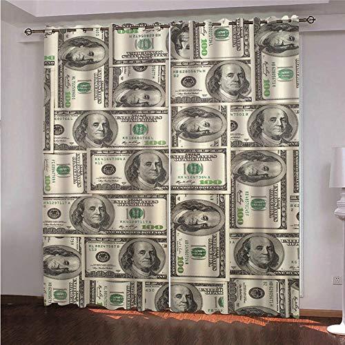 Ojales Cortinas 140 x 180 cm Gráfico de Moneda de Oro Opacas Reduccion Ruido Aislantes Cortinas Cortina de poliéster de impresión 3D para Dormitorio Infantil 2 Pieza