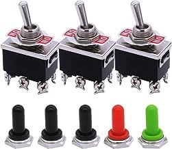 mxuteuk 3pcs Ten-1321-5MZ Heavy Duty Rocker Toggle Switch 16A 250V 20A 125V DPDT ON/ON 6 Terminal 2 Position + 5pcs Metal Knob Cover Cap Waterproof, 2 Years Warranty