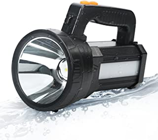 BIGSUN Super Bright LED Spotlight Flashlight, 9000 mAh Rechargeable Searchlight Ultra High Power 6000 Lumens 5 light mode