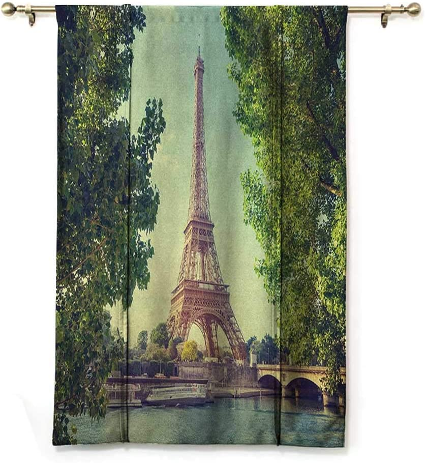 GugeABC Roman Blind Paris Kids Bedroom Windowsill Architecture Theme Illustration of Eiffel Tower Birds and Trees Pattern Print 30 Wide by 64 Long Black and White